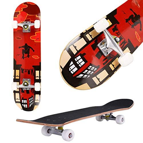 fiugsed Skateboard Komplettboard Mit ABEC-9 Kugellager Und 9-Lagigem Ahornholz 95A Rollenhärte Funboard FÜR Anfänger Und Profis - Belastung 100 KG (Rot-Skateboard)