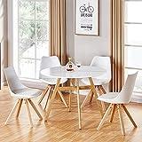 Designetsamaison Table à Manger Ronde scandinave en Bois 80cm - Umbria