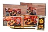"""Masterpiece """"Erlebnispack"""" - Aroma Grillbretter aus Zedernhoz in Premium Qualität, BBQ Räucherbretter (Großes Sparset inkl. Gewürz und BBQ-Grillzange) im günstigen 10er Pack"""
