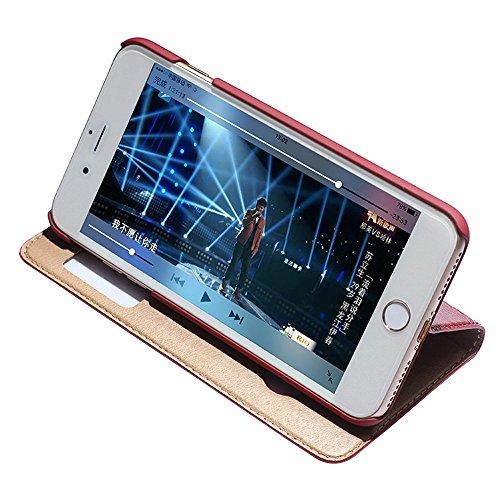 iPhone 7 Plus Hülle,EVERGREENBUYING Flip Case Etui IPHONE 7+ mit Sichtfenster - Aufklappbare Echtes Leder Schutzhülle Book Style Hülle Case Cover für iPhone 7 Plus 5.5 inch Schwarz Weinrot