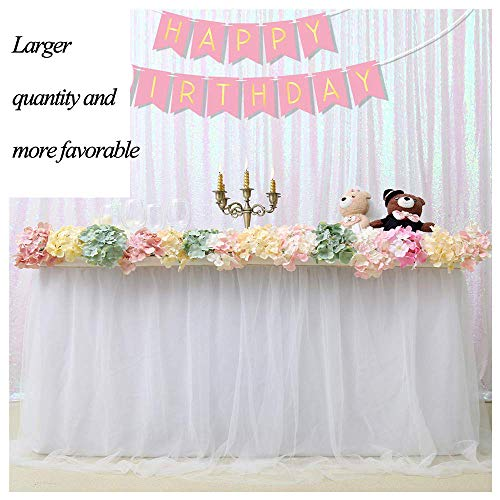 Miss Chang Tutu Tulle Table Rock für Hochzeit Birthday Baby Shower Slumber Party Girl Princess Home Decoration Party Supplies (White,39.3 Zoll Long,4 Zoll hoch)