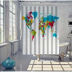 100% Poliéster Cortina de la ducha mapa del mundo Continente Territorio Impresión digital Patrón Opaco Impermeable por Casa Baño Decoración Con Suficiente Anillos Manos 180 x 180 cm