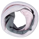 ANVEY Unisex Tube Écharpe En Tricot Snood Cachemire Chaud Automne Hiver Classique Foulards - Trendy Et Unique 2 Tons Knit Tube Pink-Gray