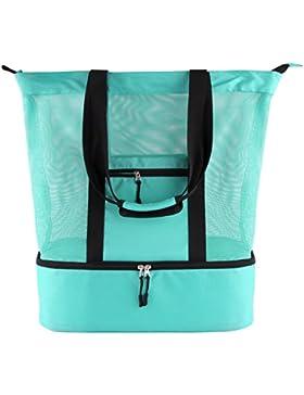 Casefashion Strandtasche mit Wasserdichter Kühlfach Hoch Kapazität Reißverschluss Größenangabe 51 x 41 x 17 CM...