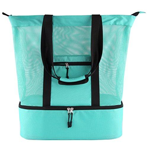 Casefashion Strandtasche Badetasche XXL mit Wasserdichter Kühlfach Hoch Kapazität Reißverschluss Größenangabe 51 x 41 x 17 CM, 360g Ideal für Reise oder Ausflug mti Kindern Beachbag Urlaubstasche(Hellgrün)