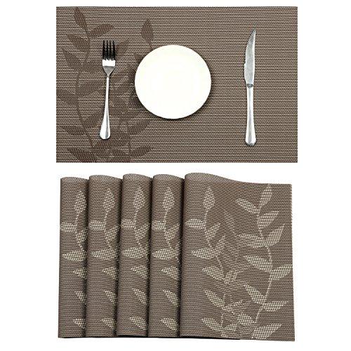 Pauwer 6er Platzset Hitzeresistente Tischmatte, Gewebtes Vinyl Platzmatten, Rutschfeste Platzmatten für den Esstisch, Waschbare Platzmatten, Einfache Reinigung (6,Kaffee Floral)