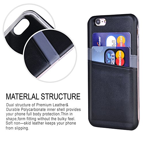 Cover iPhone 6 Pelle Rosso - Supad Case ultra sottile [Cards] Custodia Posteriore Portafoglio Custodia per Apple iPhone 6/6s 4,7 Nero