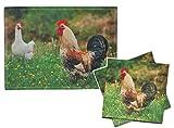 2 tlg. Set: Filz Unterlage + Servietten - Hahn - 40 cm * 30 cm - Tischunterlage - Tischset / Platzdeckchen / Eßunterlage / Platzset für Kinder Erwachsene Tiere Hühner Küken Stoff Filzunterlage