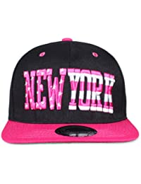 Original Snapback (one size, NY Stars & Stripe Schwarz / Pink) + Original MY CHICOS Sticker