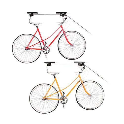 Relaxdays 2X Fahrradlift im Set, mit Seilzug, universal Fahrradhalterung, zur Deckenmontage, für 2 Fahrräder -