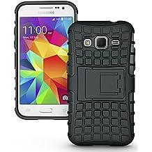 Samsung Galaxy Core Prime G360 / Prevail LTE Funda, JKase DIABLO Serie Tough Resistente Dual Protección de la Capa Funda Carcasas con Pata de Cabra para Samsung Galaxy Core Prime G360 / Prevail LTE - Empaquetado al por Menor (Negro)