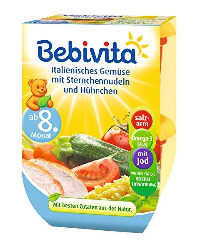 Bebivita Italienisches Gemüse mit Sternchennudeln und Hühnchen, 4er Pack ( 4 x 2 x 220 g )