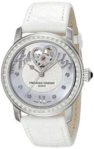 Frederique Constant Amour Heart Beat by ShuQi FC310SQ2PD6 34mm Diamonds Automatic Stainless Steel Case White Leather Anti-Reflective Sapphire Women's Watch