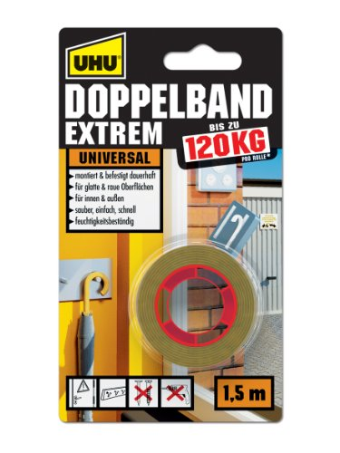UHU Doppelband Extrem, Extrem hohe Klebekraft von 120 kg/ Rolle, 1,5 m x 19 mm (Pflanzen Maßnahmen)