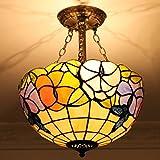 Gweat Tiffany 16-Zoll-Pastoral Continental Eisen Balkontür warme Beleuchtung Kunst-Glasleuchter 1234Cw Anti-Aisle