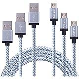 [3 CABLES] SENDIS Cable Micro USB (1m, 2m, 3m) de Nylon para Samsung, HTC, Motorola, LG, Huawei, Tabletas, Cámaras y Otros Dispositivos Android