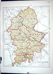Poireau 1886 du Staffordshire de Carte d'Antiquité de Keane Burton Penkridge Stafford Angleterre