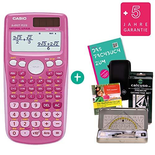 Casio FX 85 GT Plus Pink + SafeCase Schutztasche + Fachbuch + erweiterte Garantie + Lern-CD + Calcuso Geometrie Set
