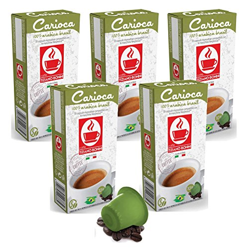 50 Nespresso kompatible Kaffee Kapseln - Carioca (5 x 10 Kapseln à 5.5 g) von Bonini