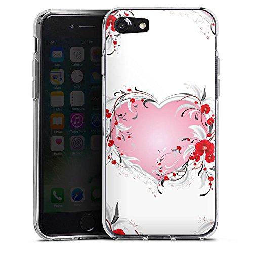 Apple iPhone X Silikon Hülle Case Schutzhülle Liebe Herz Heart Muster Silikon Case transparent
