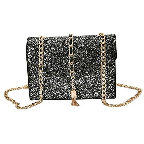 BZLine® Frauen Leder glänzend Leder Schulter Paket Tote cool Pailletten Taschen, 20cm*6cm*14cm Grau