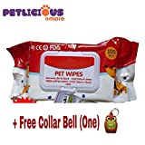 #1: PnM Pet Dogs & Puppies Pet Wipes Apple Scent Fregnace (20Cm x 15Cm) Pack of 100 Pcs with Free One Collar Bell