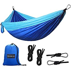 SHINE HAI Camping Hamaca,300kg de Capacidad de Carga (270*140cm),Transpirable, Nylón de Paracaída Ligera Portátil,Ideal para Senderismo, Camping, Viajes, Playa, Patio