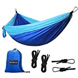 Camping Hammock, SHINE HAI Portable Travel 2 Person Parachute Hammock Swing, Quick-drying Nylon Fabric Canvas, Blue, Super Lightweight Perfect for Outdoor Activities, Garden Beach