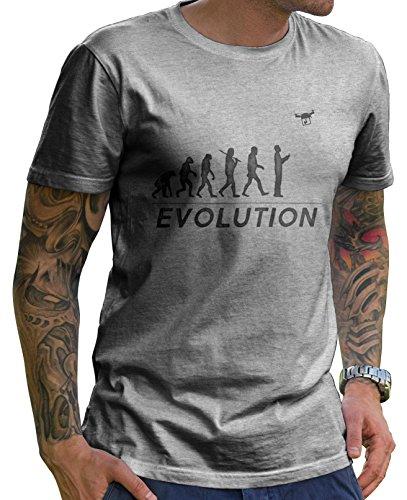 Stylotex Herren T-Shirt Worst Drone Evolution , Farbe:heather;Größe:M