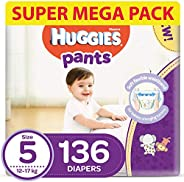 Huggies Active Baby Pants - Size 5, 12-17 kg, 136 Diapers Pants