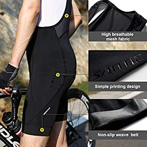 SANTIC Culote Bicicleta Hombre Culotte Ciclismo Hombre Culote MTB Pantalones Cortos Ciclismo Hombre Negro EU L