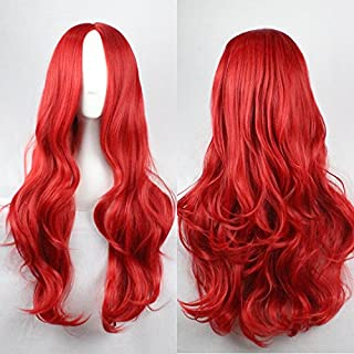 Womens Ladies Girls 75cm Red Color Long Curly High Quality Hair Carve Cosplay Costume Anime Party Bangs Full Sexy Wigs
