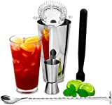 Boston Cocktail Shaker Set with Jigger Measure by bar@drinkstuff | Cocktail Making Kit, Cocktail Starter Pack | Bar Accessories Set includes Boston Cocktail Shaker, Muddler, Mixing Spoon, Cocktail Strainer & Jigger Measure