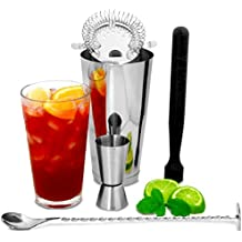 Bar@Drinkstuff - Boston cocktail shaker set con jigger medida por | cóctel haciendo kit, cóctel starter pack | bar accesorios set incluye coctelera boston, machacador, cuchara de mezcla, colador de coctel & jigger medida