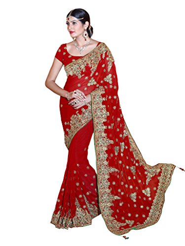 SOURBH Women's Faux Georgette Heavy Hand Work Embroidery Bridal/Wedding Wear Saree (2380_Red)