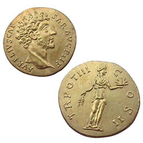 Riproduzione metallo replica moneta antica marco aurelio roma impero romano