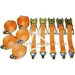 5 Stück im Set! Spanngurt 2-teilig mit Ratsche und Spitzhaken, 4.000 daN, 50 mm, 6 m: Ratschenteil 0,50 m und Losende 5,50 m