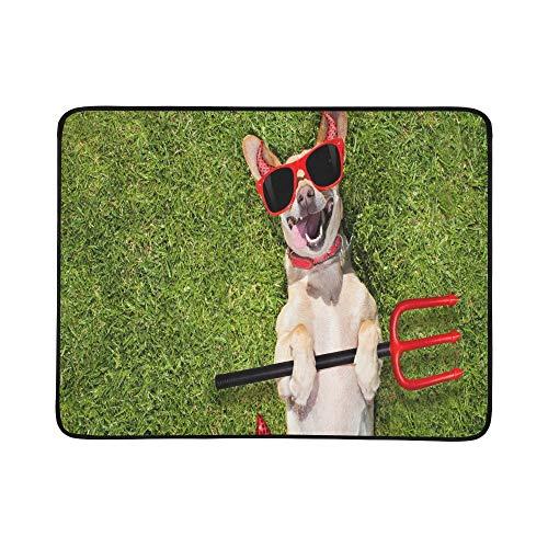 JEOLVP Chihuahua Hund Ghost Halloween beängstigend gruselig tragbare und Faltbare Deckenmatte 60x78 Zoll handliche Matte für Camping Picknick Strand Indoor Outdoor Reise