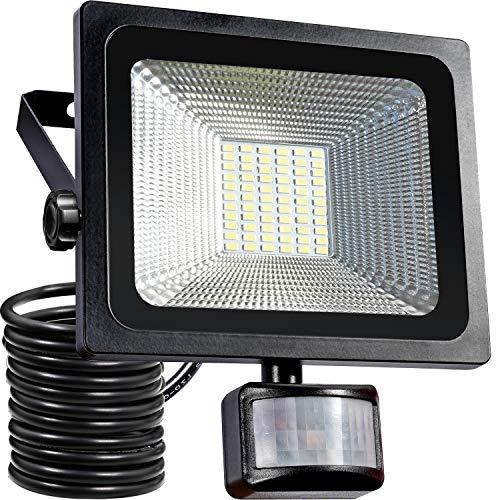 30W LED Fluter bewegungsmelder außen Strahler Licht Scheinwerfer Außenstrahler Wandstrahler 4200LM Schwarz Aluminium IP65 Wasserdicht AC 85-265V Weiß (Schwarz Licht Scheinwerfer)