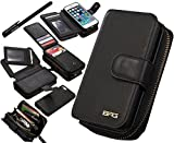 Urvoix iPhone SE 5S 5 Case, Premium Leather Zipper Wallet Multi-functional Handbag Detachable Removable Magnetic Case with Flip Card Holder Cover for Appple iPhone 5 5S SE