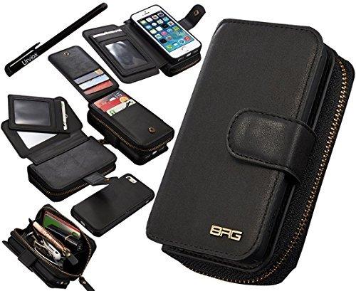 - 51PxZVcypQL - Urvoix iPhone SE 5S 5 Case, Premium Leather Zipper Wallet Multi-functional Handbag Detachable Removable Magnetic Case with Flip Card Holder Cover for Appple iPhone 5 5S SE
