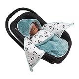 MoMika Babyfußsack Baby Fußsack Babyschale Kuschelsack Babydecke Kinderwagen aus Baumwolle Zickzack (Aquamarina)