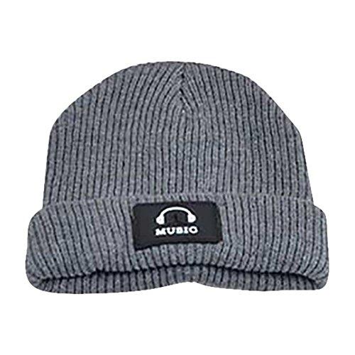Unisex stricken Schädel Cap Wingbind Winter warme Beanie Cap Hut Slouchy Skuff Cap Watch Hut mit Kopfhörer Patch - Stricken Watch Cap