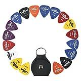 Gitarre Plektren [18 Stück + Ledertasche] 0.58-1.50mm 6 verschiedenen Stärken und Farben in einer Ledertasche für E-, Akustik- und Bass-Gitarre