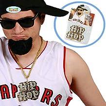 Cadena hip hop Collar rapero Accesorio disfraz gángster Colgante dorado de chulo Collar hiphopero Accesorio traje pimp