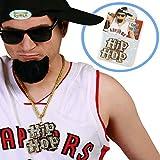 Amakando Halskette Rapper Hip-Hop Kette Goldkette Protzer Gangster Kostüm Zubehör Pimp Faschingskostüm Accessoire Prollkette Hip Hopper