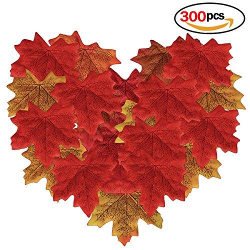 Romote 300pcs Artificial Herbst Ahornblätter, 6 Mischfarben Herbstblätter für Hochzeit, Fest und...