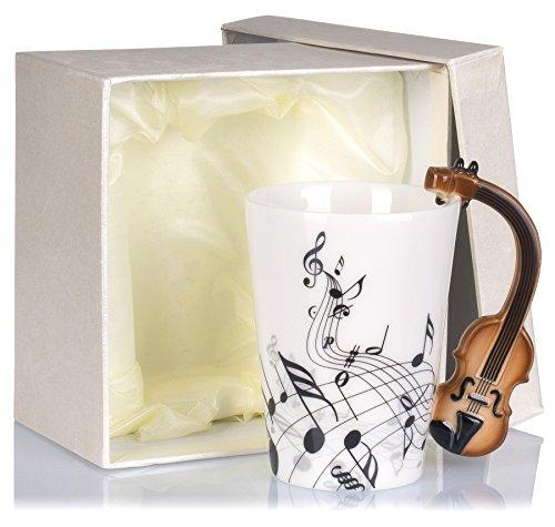 Keramiktasse mit Motiv Henkel - Weiß & Bedruckt 'Violine' Design ca. 0,2l - Tee & Kaffee Tasse zum...