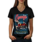 Best Tools Supply V Neck T Shirts - Wellcoda Pin Up Car Garage Women L V-Neck Review