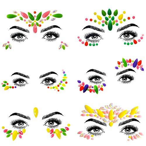 ZOYLINK 6 Blatt Halloween Gesicht Schmuck Mode Kreative Luminous Face Gem Jewel Sticker